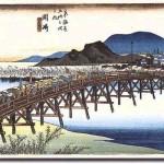 Yahagibashi. Ukiyoe by Hiroshige.