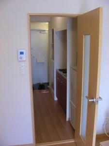 Entrance, and hallway to main room via mini-kitchen.