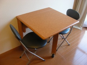Desk (folding). We also provide a reading lamp.