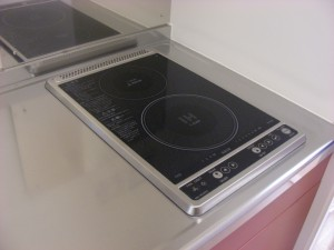 Induction Heating (IH) cooker. Stainless steel cooking equipment provided.