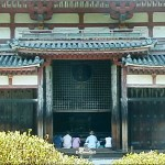 Front of the Phoenix Hall, with face of the Amida visible through the lattice.